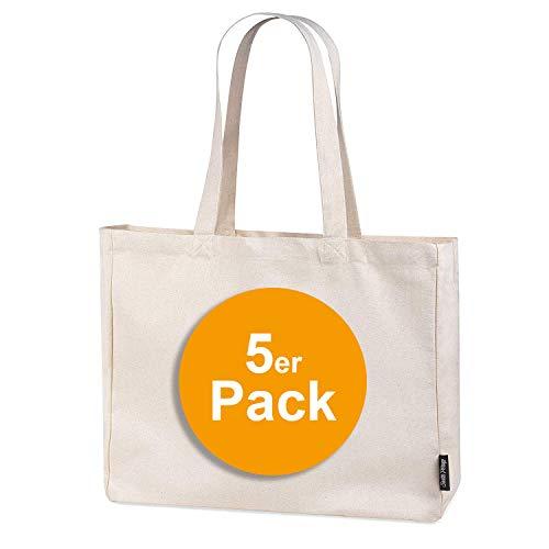 5er Pack stabile 300 g/m² Einkaufstasche aus Bio-Baumwolle in Premium-Qualität Jutebeutel Tragetasche Stoffbeutel Shopper (5)