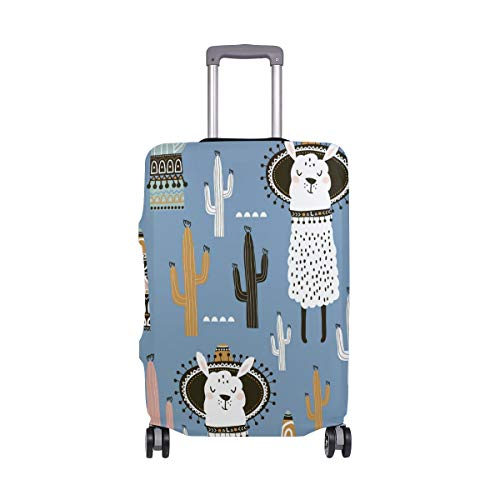 ALINLO Cute Llama Alpaca Cactus Luggage Cover Baggage Suitcase Travel Protector Fit for 18-32 Inch