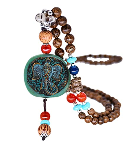 Vintage Long Necklace Turquoise Wood Beads Elephant Pendant Necklaces...