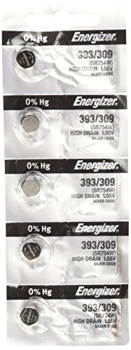 Energizer SR754W 393 Silver Oxide Watch Battery 5 Pack
