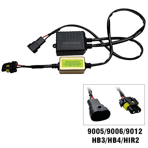 KOOMTOOM Décodeur Canbus 9012 HIR2 LED anti-scintillement pour ampoule de phare et ampoule anti-erreur pour Cherokee (2.4)