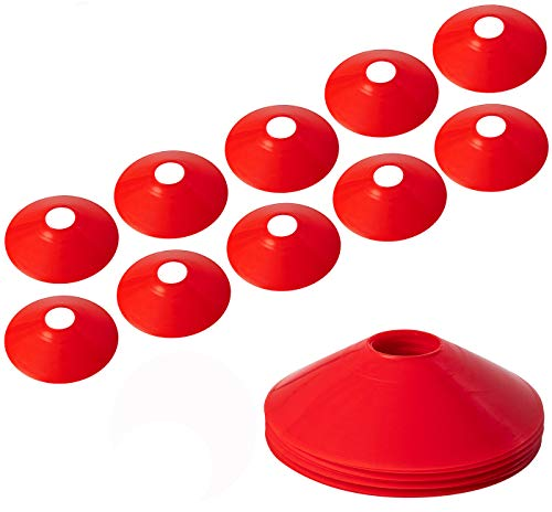 BiAnYC Pro Disc Cones,Training Cones for Agile Training/Soccer Training/Football/Kids/Field/Other Games etc. Cone Markers (10Pcs,Red,Thickened Version 24g)