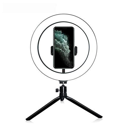 10-Zoll-LED-Ringlicht mit Stativständer und Telefonhalter, Einstellung 3 Farbmodi und 10 Helligkeit USB-fähiger Schreibtisch Selfie-Make-up-Ringlicht für Live-Streaming, YouTube, Videoaufnahmen, Vlog