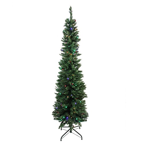 Northlight 6' x 21' Pre-Lit Northern Balsam Fir Pencil Artificial Christmas Tree - Multi LED Lights