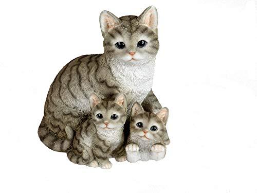 Formano Katzenfigur Katzenfamilie niedliche Deko Figuren Katzenkinder naturfarben bemalt Handarbeit (16x19 cm)