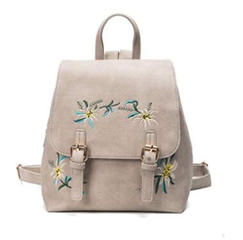 XTIANUK Women Backpacks Leather Female Rucksack Small Floral Embroidery Flowers School Bags For Girls