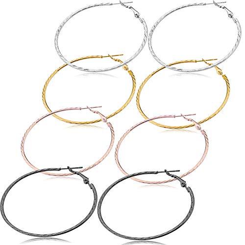Hoop Earrings Set For Women Men Silver Gold Gunmetal Grey Tone Plate Round Fashion Jewelry 3 Pairs (GL4: 4 Colors Pattern Hoop - Medium)