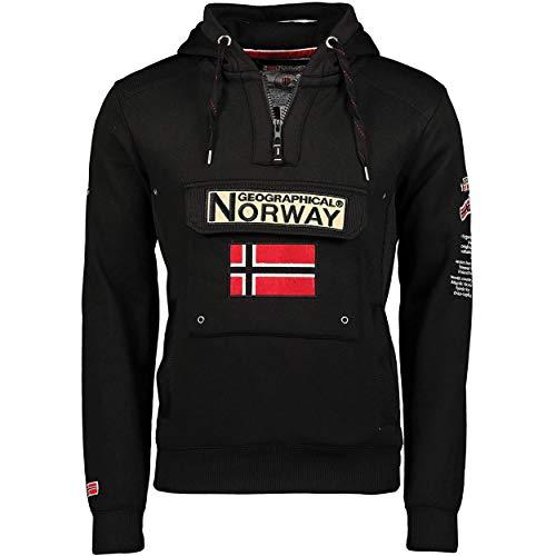 Geographical Norway GYMCLASS Men - Sudadera Capucha Bolsillos Hombre - Chaqueta Casual Hombres Abrigo - Camisetas Camisa Manga Larga - Hoodie Deportiva Regular Fitness Jacket Tops (Negro L)