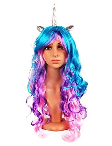 Pruik - eenhoorn - oren - zilveren hoorn - golvend - veelkleurig - accessoires - vermomming - vrouw - meisje - halloween - carnaval