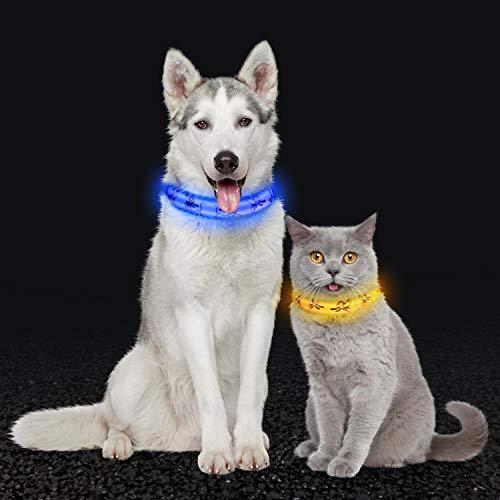 PTN 2 STK LED Leuchthalsband Hunde, USB Wiederaufladbare leuchtende Sicherheitshalsbänder mit 3 blinkenden Modi, 100% wasserdicht Und einstellbar, blau und gelb (M 32-50cm)