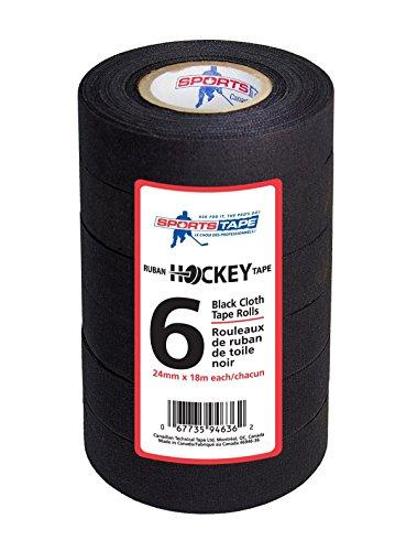 SportsTapee Hockey-Tape – 6 Rollen Multipack (schwarz)