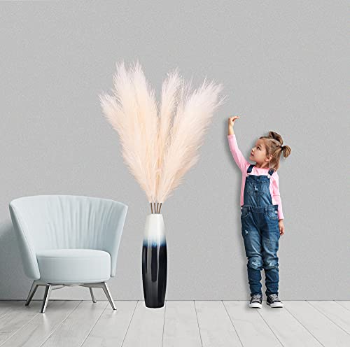 Teavas 43 inch Tall Faux Pampas Grass (Beige/Cream) 4 stem Bundle   Fake Natural-Looking Fluffy Plume Pampas Grass for Living Room Decor Floor vases