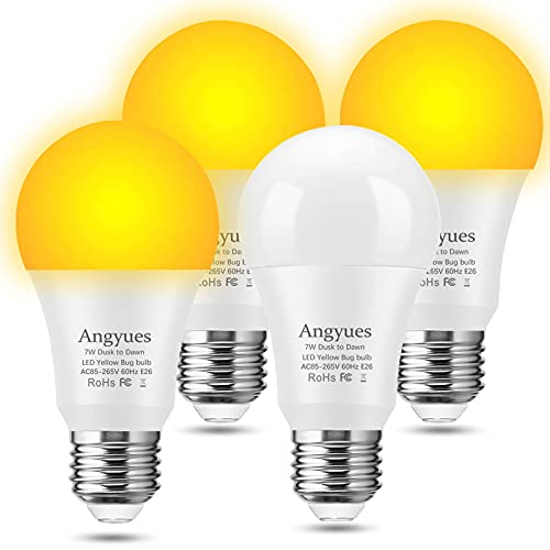 Yellow Bug Light Bulbs Outdoor, Dusk to Dawn LED Bug Light Bulbs 7W Sensor Bulb 2000K Amber Glow, E26 Automatic On/Off, Used in Corridors, Decks, Courtyards, Terraces, etc, 4 Pack