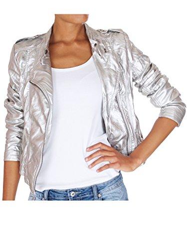 62nd Avenue Damen Bikerjacke Kunstlederjacke Silber metallic Paisley 223 S / 36