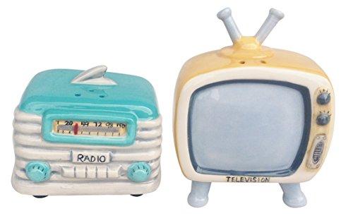 Blue Sky Keramik Radio und Fernsehen Salz und Pfeffer-Set, Keramik, Multicolor