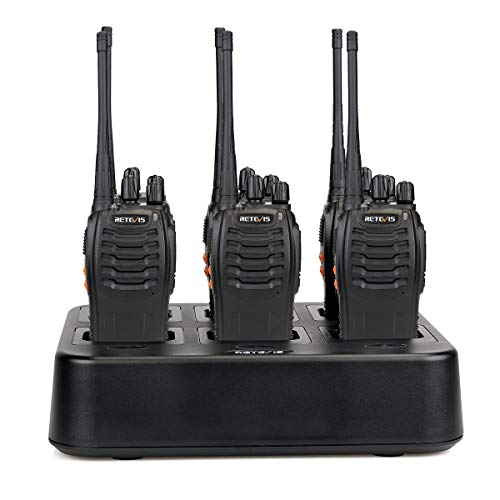 Retevis H-777 Walkie Talkies Long Range Flashlight UHF Radio Rechargeable Two-Way Radios 2 Way Radios (6 Pack) with 6-Way Multi Unit Charger