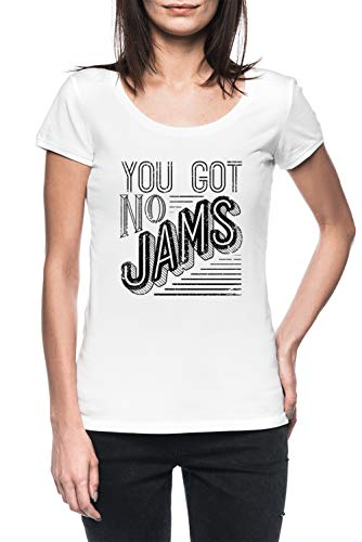 You Got No Jams - BTS Distressed Typography Mujer Blanco Camiseta Manga Corta Women's White T-Shirt