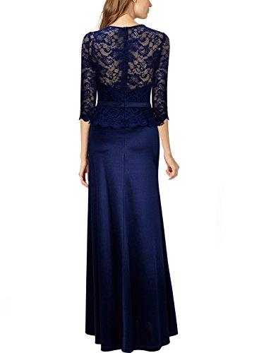 Miusol Damen Abendkleid 3/4 Arm Elegant Spitzen Kleid Brautjungfer Langes Cocktailkleid Navy Blau Gr.M - 4