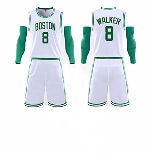 Kemba Walker # 8 Boston Celtics Herren-Basketball-Trageset Kinder-Basketball-Trageset T-Shirts und Hosen Running Training Shirts Team Uniform-White-XXL