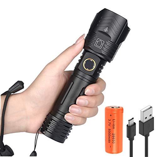Torcia LED Potente Ricaricabile, Super Luminosa 10000 Lumen con Funzione Impermeabile 5 Modalità Fuoco Regolabile Portatile Militare Torcia Torce Funzionale per Campeggio Esterno con Batteria 26650