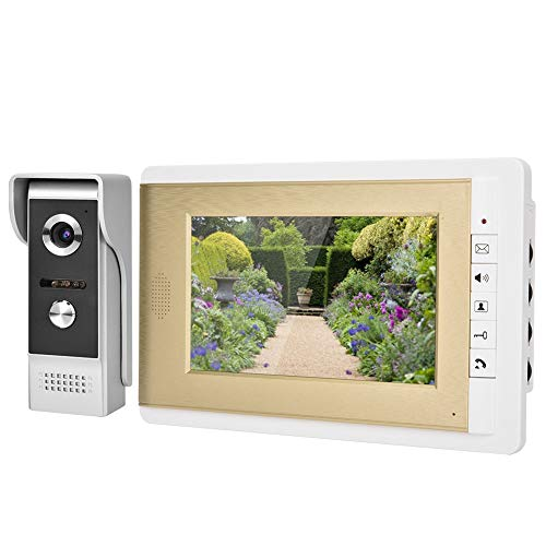 Color videoportero,7 TFT LCD Monitor HD Timbre Video Portero Kit Intercom Doorbell con Visión Nocturna Impermeable (EU)