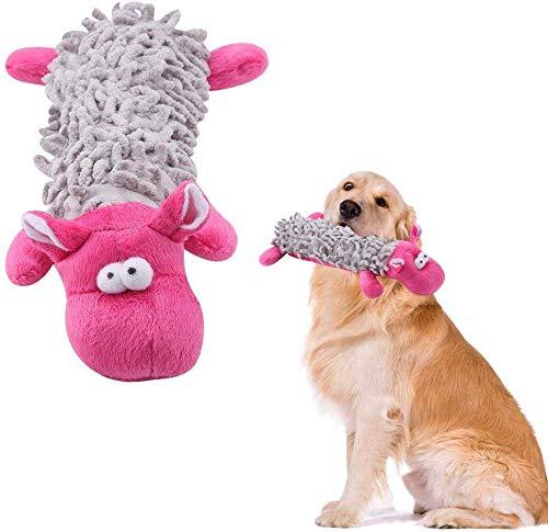 HEEPDD Hund Plüsch Kauen Spielzeug, Durable Quietschend Plüsch Hundespielzeug Lustige Trainingswerkzeug Interaktive Welpen Spielzeug für Kleine Mittelgroße Hunde Tiere (Rosa)