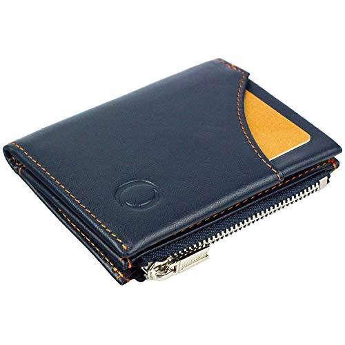 Portafoglio blu/arancio uomo piccolo intelligente e sottile in vera pelle con porta carte di credito, portamonete porta tessere, protezione anti-RFID