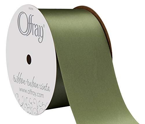 "Offray Berwick 2.25"" Wide Double Face Satin Ribbon, Moss Green, 10 Yds"