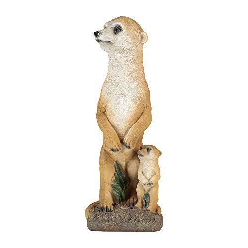 1PLUS Gartenfigur Erdmännchen mit Baby, aus Kunstharz/Polyresin, Figur für den Garten/Außen-Bereich
