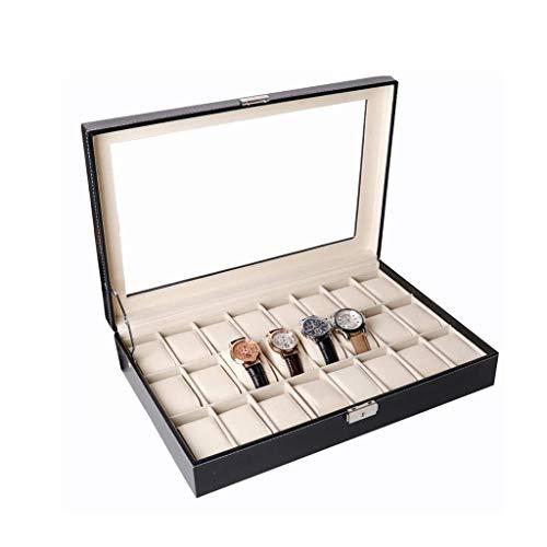 LIYONG Reloj Box Jewelry Box 24 Slots Watch Organizer Jewelry Mostrar Caja de Almacenamiento con Tapa de Vidrio HLSJ