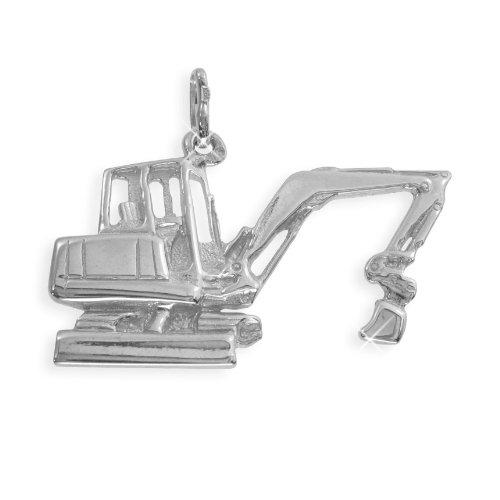 Schaufelbagger Bagger Anhänger Sterling Silber 925 massiv (Art.209134) Gratis Express Gravur