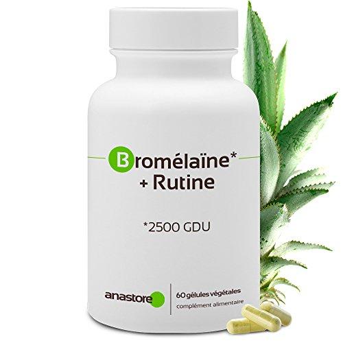 BROMÉLAÏNE + RUTINE * 375 mg / 60 gélules * Anti-inflammatoire, Antioxydants * Garantie Satisfait ou Rembours * Fabriqué en France