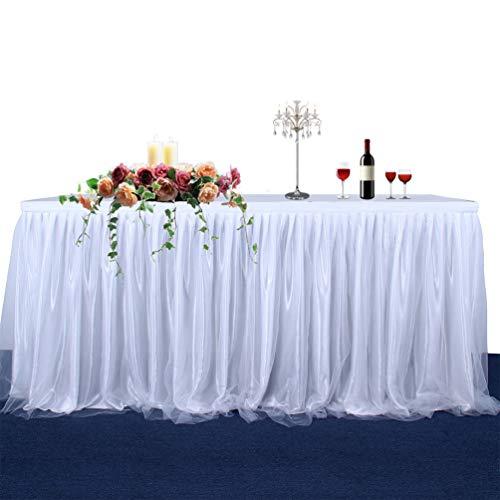 Fashionbeautybuy - Tovaglia Corta in Tulle, per Feste, Matrimoni, Decorazione Domestica, 1,8 m, 2,7 m, 4,3 m, Bianco, 14FT