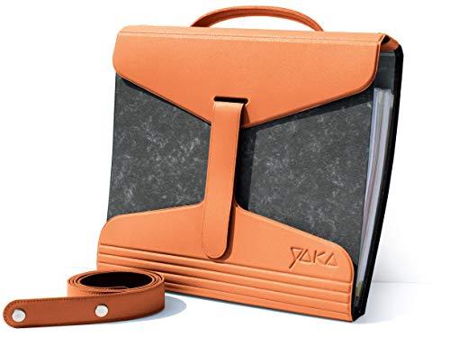 YaKa Archivador Portátil A4 - Naranja - Bolso Archivador Escuela, Oficina, Trabajo y Suministros - Organizador de Documentos y Papeleo con Correas y Asa - Apto para Libros 40-80mm