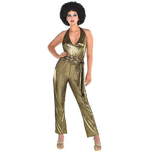 amscan Womens Disco Solid Gold Jumpsuit- Diva Costume, One Size