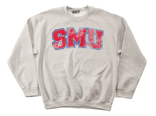 SMU Mustangs 50/50 Blended 8-Ounce Vintage Arch Crewneck Sweatshirt, Medium, Sport Grey