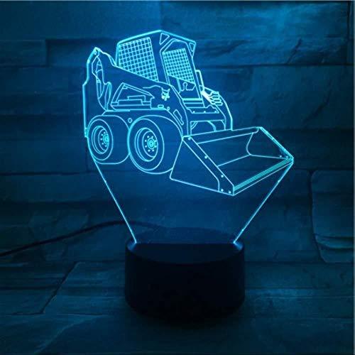 Tischlampe 3D Nachtlicht Bulldozer Panel Ausgrabung Christm Mood Lampe Schlafzimmer Dekoration Bestes Geschenk Weihnachtsillusion Acryl Kind 7 Farben Ändern Bestes Geschenk Halloween Girl Boy