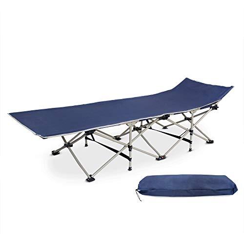 Todeco - Cama Plegable para Playa, Tumbona Ajustable - Material: Poliéster 600D, Tubos de Acero - Carga máxima: 150 kg - 190 x 67 x 35 cm, Azul Marino