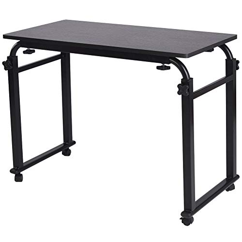 Overbed Table with Wheels Laptop Stand Cart Over The Bed Table Hospital Bedside Table Mobile Desk Adjustable