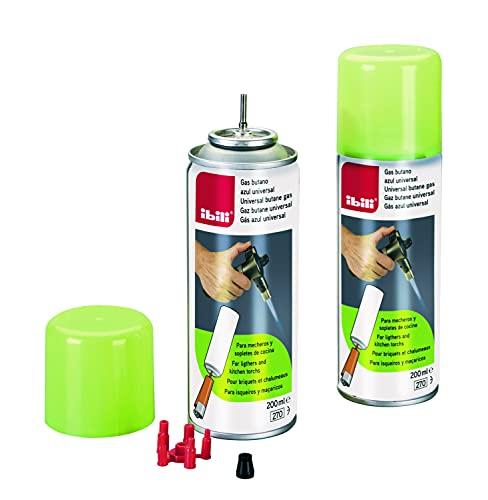 IBILI Gas butano Azul-Universal-Apto para mecheros y sopletes de Cocina-Respetuoso con la Capa de ozono-200 ml