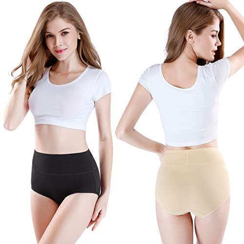 wirarpa Women's Cotton Underwear High Waisted Full Briefs Ladies Comfortable No Muffin Top Panties 4 Pack Size 6, Medium