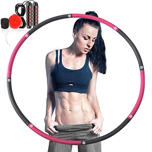 Camfosy Fitnesskreis, Hula Hoop Reifen Gewichtsverlust Schlankheits Kreis 8 Segmente Abnehmbarer Hula Reifen mit Mini Bandmaß und Springseil für Erwachsene Kinder Fitness Bauchformung Zuhause BüRo