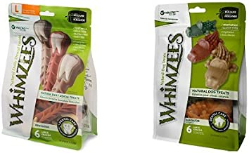 Whimzees Natural Grain Free Dental Dog Treats, Brushzees & Alligator, Large (Two 6-Count Bags), Variety Bundle
