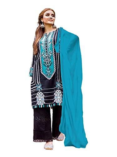 Negro con azul puro Cambric algodón bordado semi césped musulmán formal pakistaní Salwar traje 6311 - negro - Más 2X