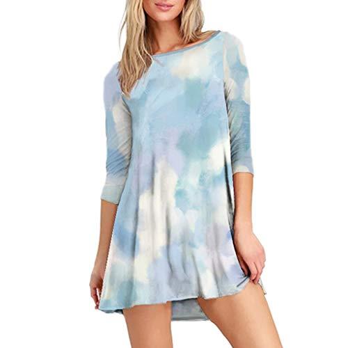 KESEELY Women's Tie-Dye Sweatshirts Three Quarter Sleeve Crewneck Loose Casual Dress Sky Blue