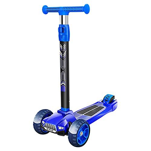 PTHZ Scooter de 3 Ruedas para niños pequeños, Scooter Plegable con Ruedas de PU Parpadeante, Altura Ajustable e dirección de inclinación, Adecuada para niños y niñas de 3 a 12 años,Azul