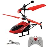NHR Infrared Induction Helicopter Sensor Aircraft USB Charger Flying Helicopter 2 in 1 Flying Helicopter with Remote (6 to 14 Years) (D Red)