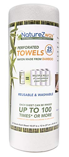 NatureZway Bamboo Perforated Towels Rayon Made from Bamboo, 25 Sheets