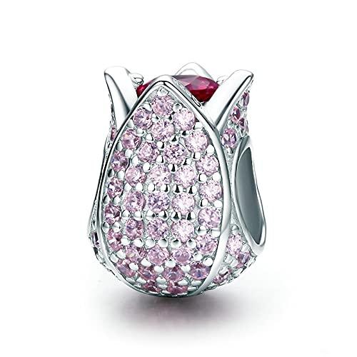 LIJIAN DIY 925 Sterling Jewelry Charm Beads Romántico Tulip Flower Pétalos Pink Make Original Pandora Collares Pulseras Y Tobilleras Regalos para Mujeres