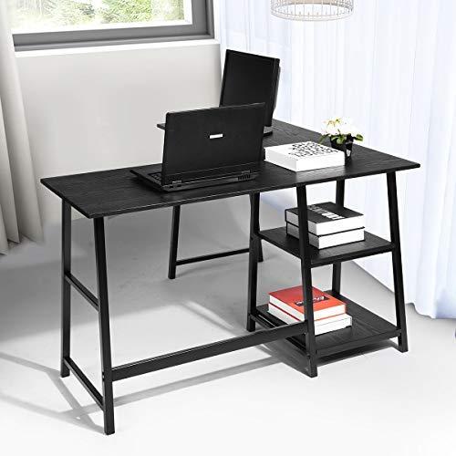 No branded Homy Lin Escritorio de Esquina en Forma de L Escritorio para Juegos de computadora Mesa para PC, Estación de Trabajo de Escritura para Oficina en casa, Negro
